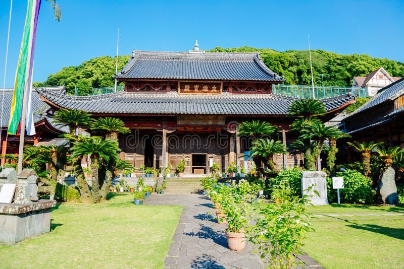 日本老木architectureKofukuji寺庙在长崎,九州,日本 库存照片