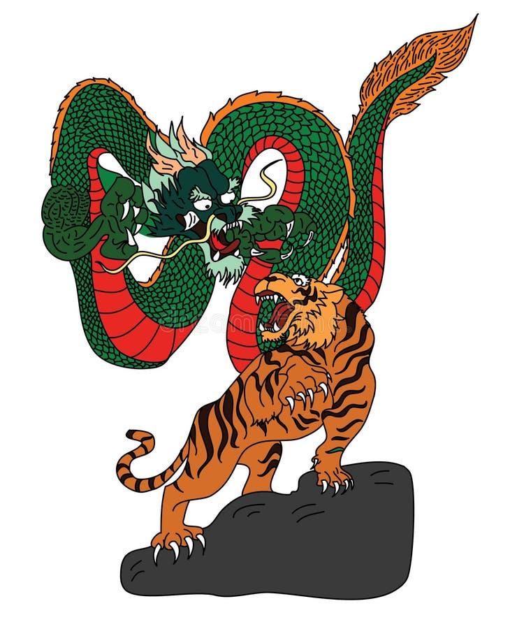 日本老虎和龙纹身花刺设计贴纸的传染媒介 库存例证