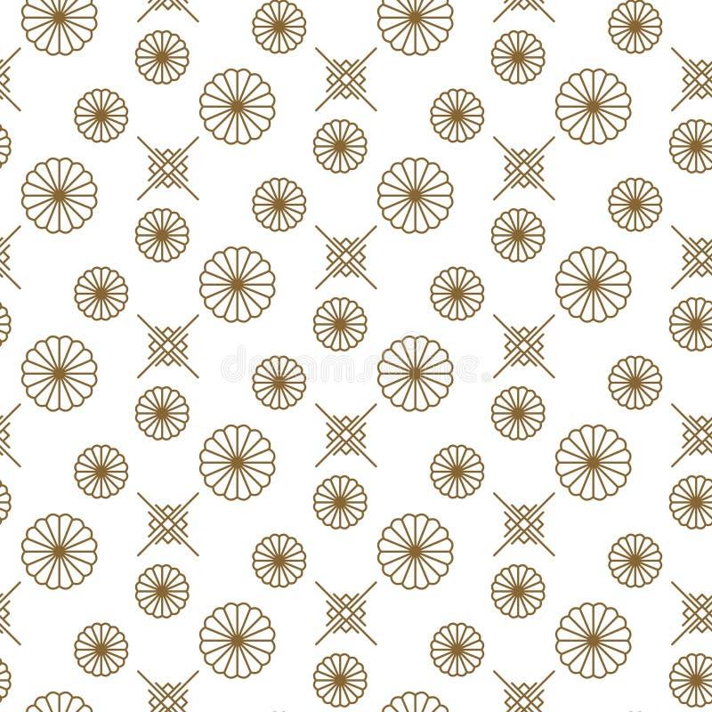 日本花卉在金线颜色样式的传染媒介无缝的样式 向量例证