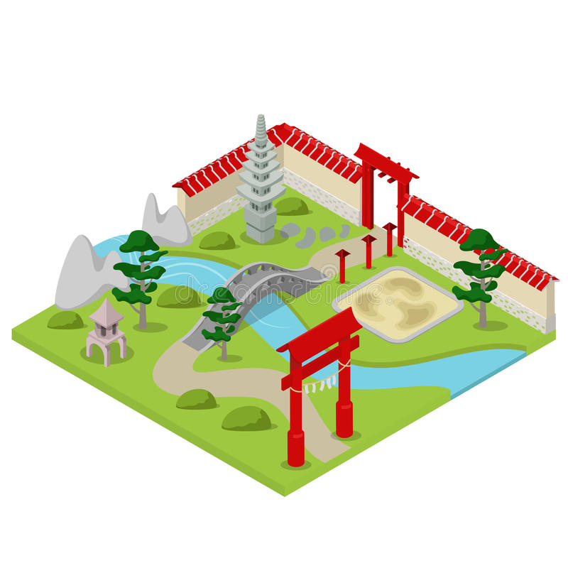 日本花园城市大厦盆景平的3d等量传染媒介 皇族释放例证
