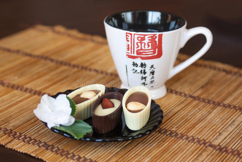 日本茶和甜点 免版税库存照片