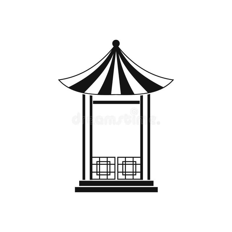 日本莲花亭子象,简单的样式 向量例证