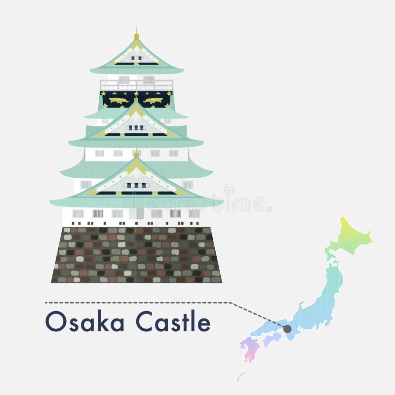 日本著名城堡传染媒介-大阪城堡 库存例证