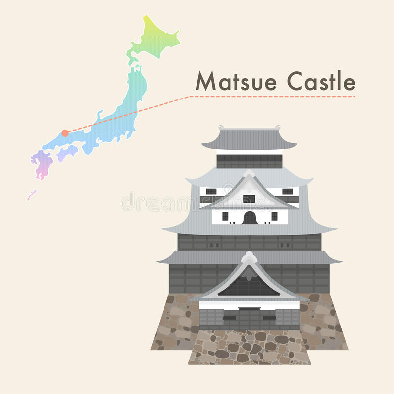 日本著名城堡传染媒介-松江城堡 向量例证