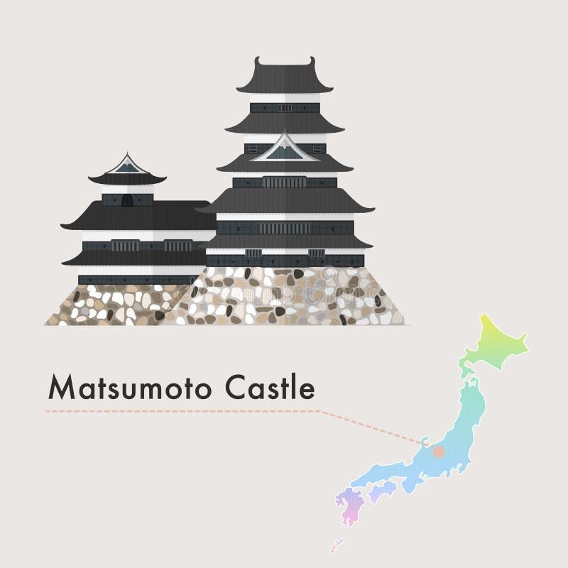 日本著名城堡传染媒介-马塔莫罗斯城堡 库存例证