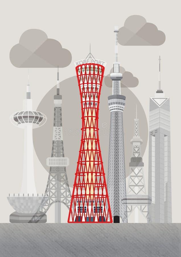 日本著名塔系列传染媒介 皇族释放例证