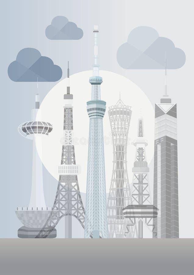 日本著名塔系列传染媒介 库存例证