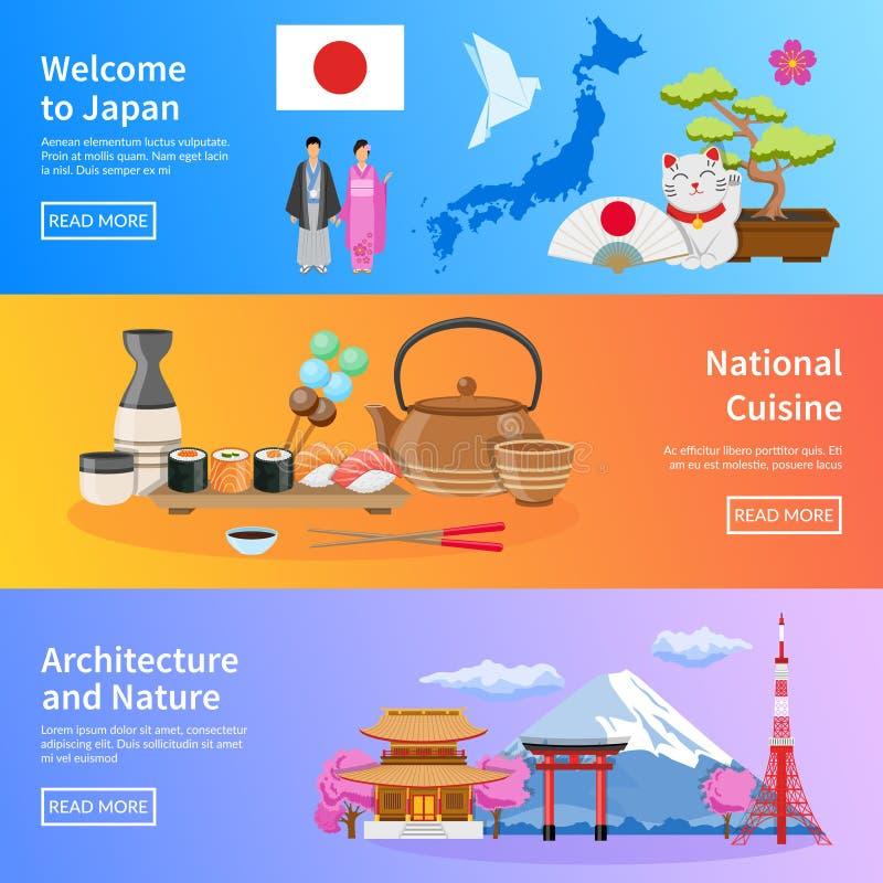 日本被设置的文化地标地平线平的横幅 皇族释放例证