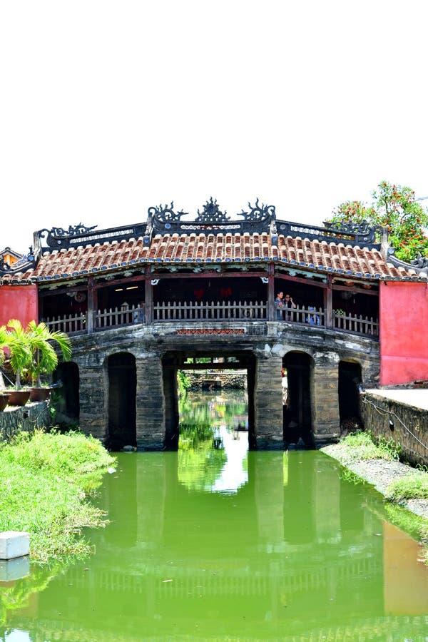 日本被遮盖的桥在会安市,越南 库存图片