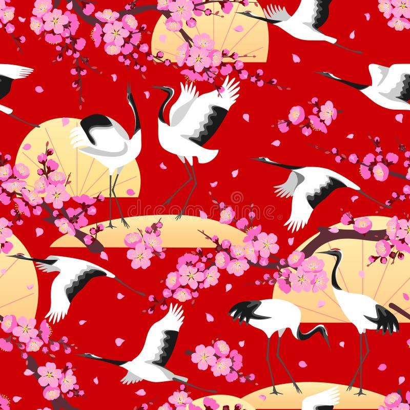 日本起重机和开花的分支样式 皇族释放例证