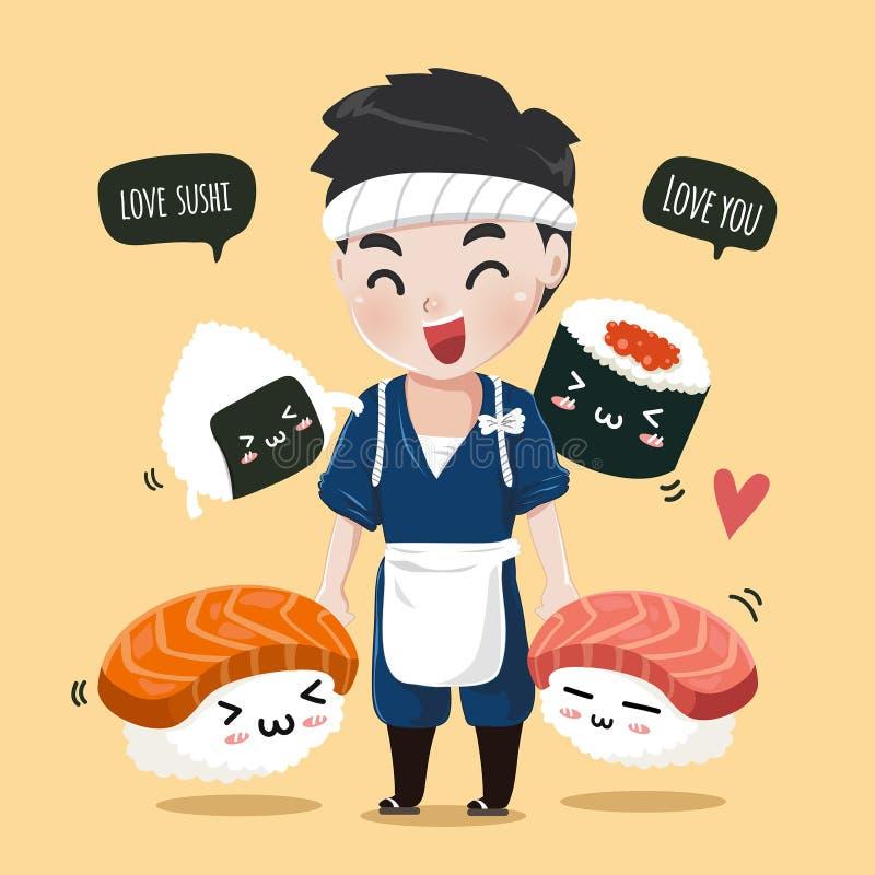 日本逗人喜爱的厨师朋友寿司吉祥人 皇族释放例证