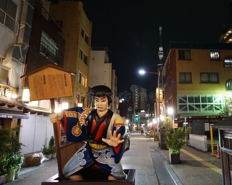 日本邪魔,带5位窃贼,在Denboin-dori街,浅草的Kabuki字符的领导 库存照片