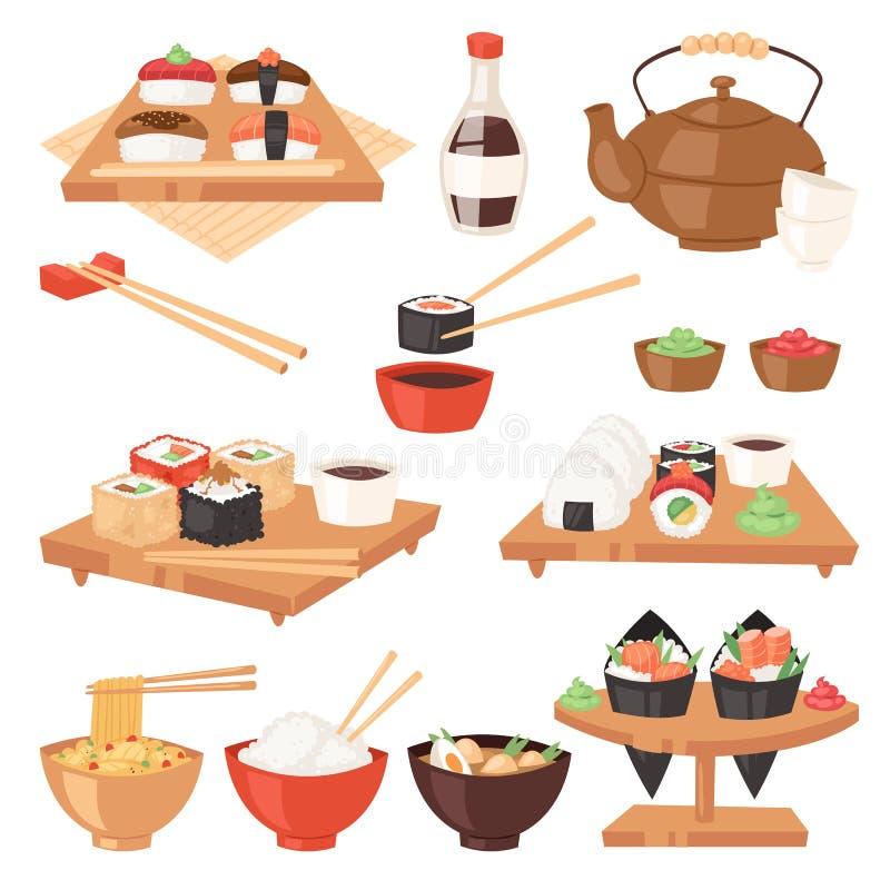 日本食物传染媒介吃寿司生鱼片卷或nigiri和海鲜用米在日本餐馆例证 库存例证