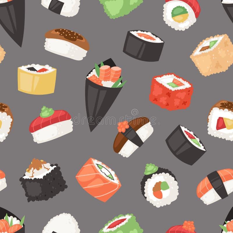 日本食物传染媒介寿司生鱼片卷或nigiri和开胃菜用海鲜米在日本餐馆例证 库存例证