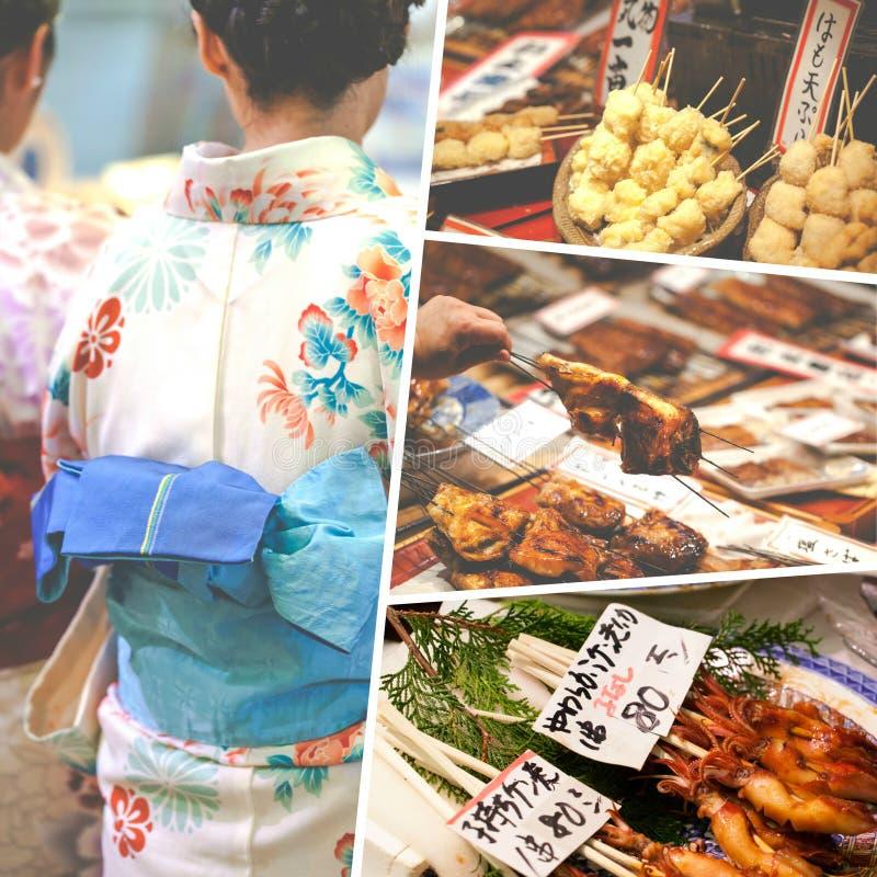 日本食物图象拼贴画-旅行背景(我的照片) 库存照片