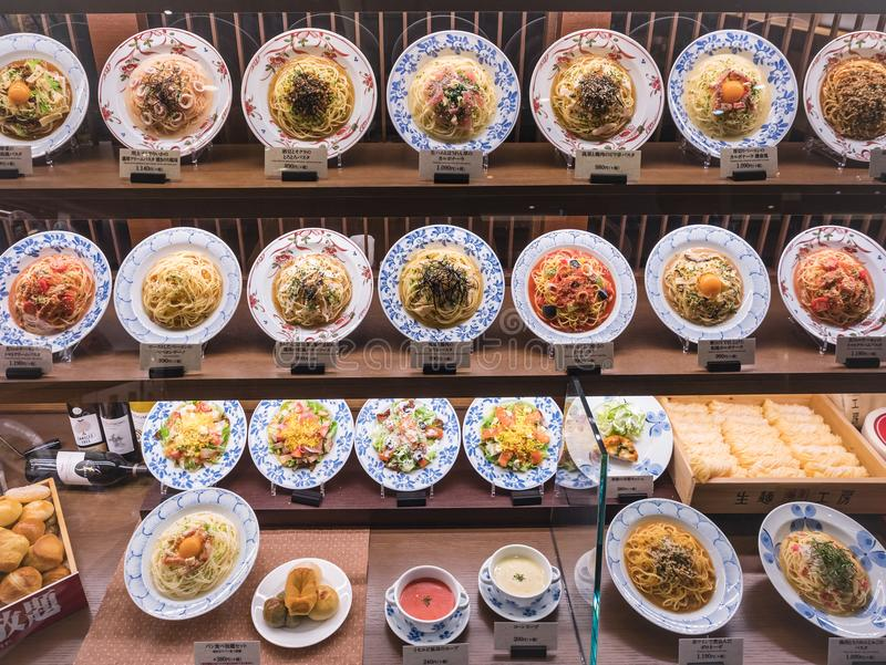 日本食物显示意粉镀意大利日本融合餐馆 图库摄影