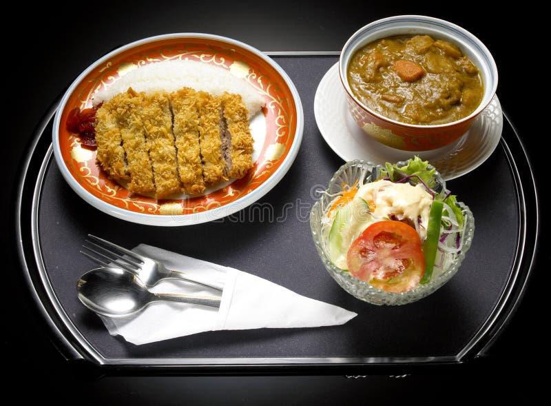 日本食物油炸物猪肉咖喱 免版税库存照片