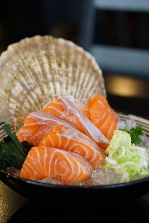 日本食物-三文鱼生鱼片 图库摄影