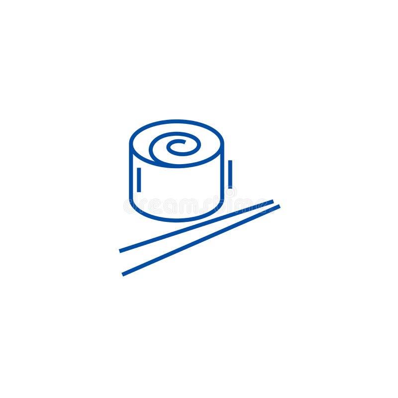 日本餐馆,寿司卷线象概念 日本餐馆,寿司卷平的传染媒介标志,标志,概述 库存例证