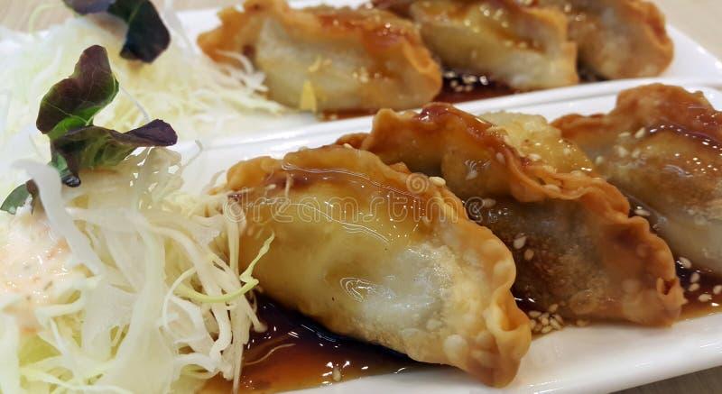 日本饺子- Gyoza用虾肉和菜 免版税库存图片