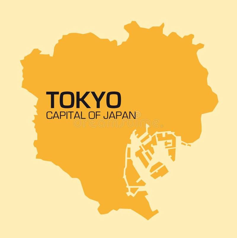 日本首都东京的简单的概述地图 向量例证
