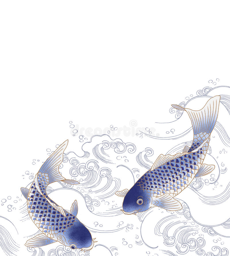 日本鲤鱼 向量例证