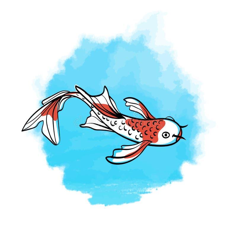 日本鲤鱼koi 好运的东方标志 在蓝色水彩斑点背景的亚洲传染媒介例证  库存例证