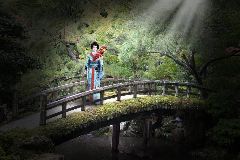 日本,艺妓,妇女,日本庭院, 免版税库存照片