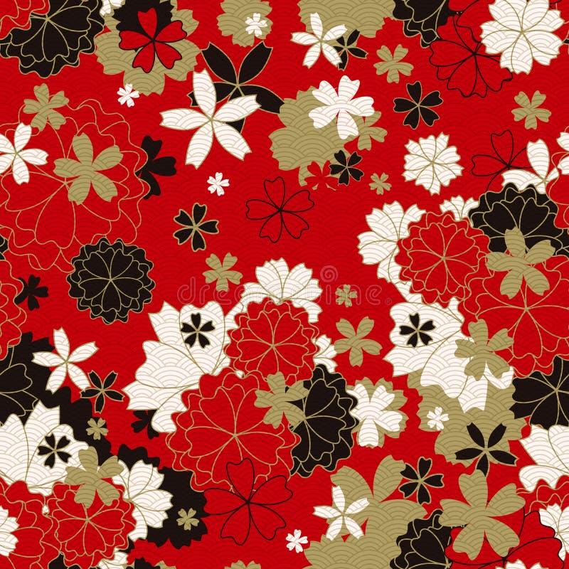 日本经典花卉无缝的样式 库存照片