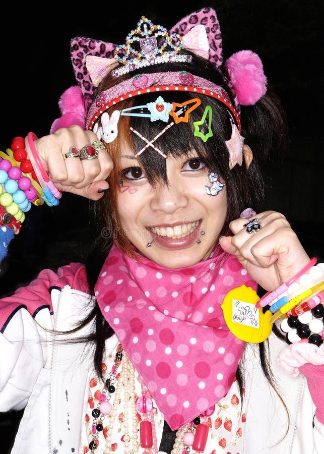在harajuku东京日本的日本cosplay风扇 库存图片
