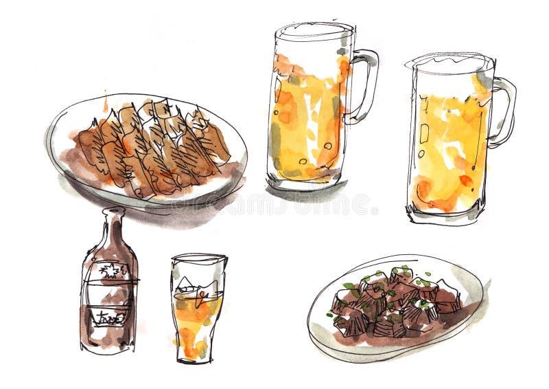 日本izakaya样式例证食物和饮料 冰镇啤酒wi 库存例证