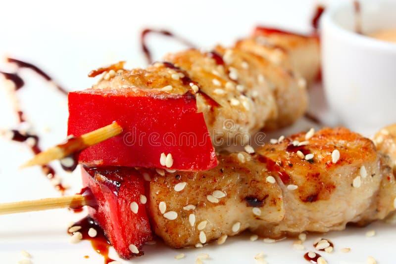 日本kebabs鸡 免版税库存照片