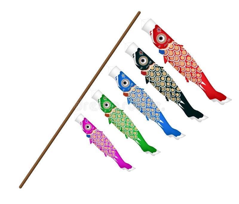 日本koi在白色背景的鱼风筝 向量例证