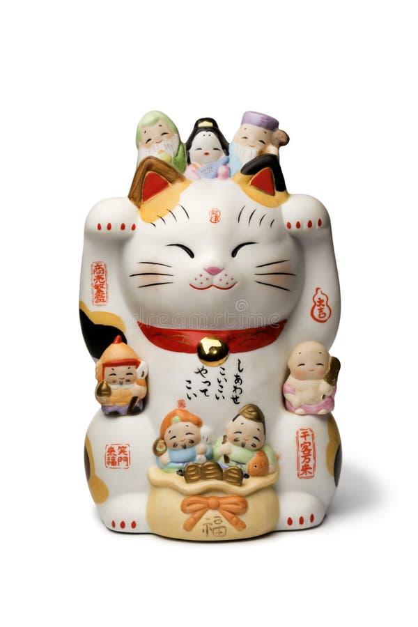 日本maneki neko,幸运的猫 免版税库存照片