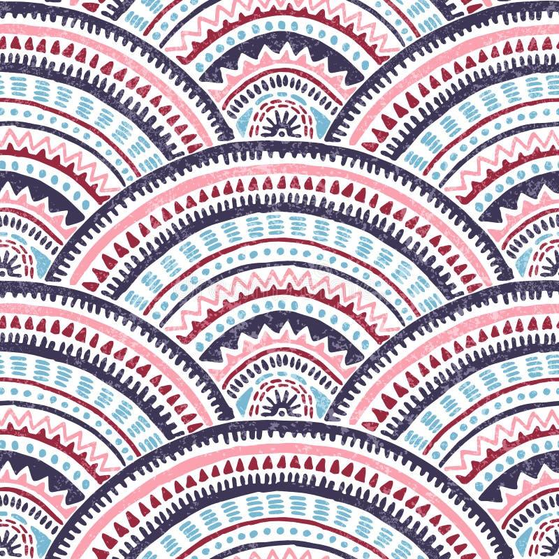 日本seigaiha波动图式 纺织品的种族印刷品 阿兹台克和部族主题 用手被画的波浪墙纸 向量 皇族释放例证