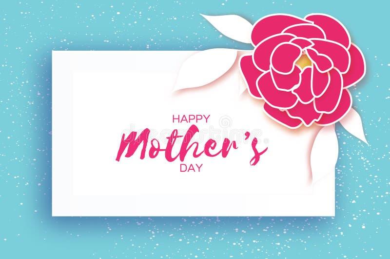 日母亲s 桃红色花卉贺卡 纸裁减牡丹花 长方形框架 Origami妇女` s天 文本 库存例证