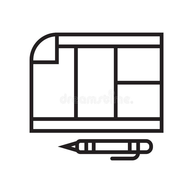 日程表象在白色背景和标志隔绝的传染媒介标志,日程表商标概念 库存例证