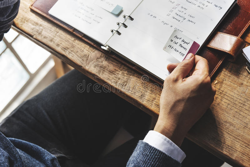 日程表遇见客观概念的议程任命 免版税库存照片