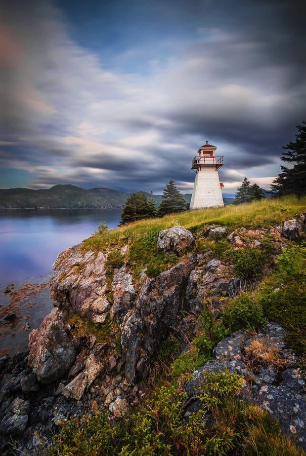 日落、伍迪点、格罗莫讷国家公园、纽芬兰& L 库存照片
