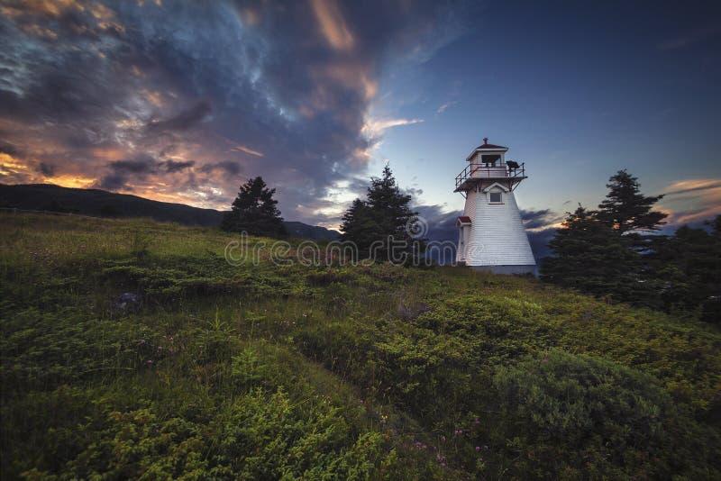 日落、伍迪点、格罗莫讷国家公园、纽芬兰& L 库存图片