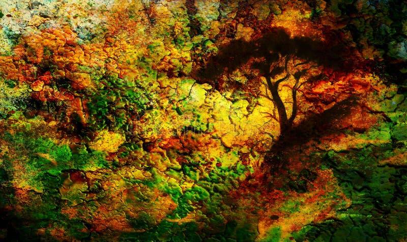 绘画日落、海和树,墙纸风景,颜色拼贴画 并且与斑点的抽象难看的东西背景 库存例证