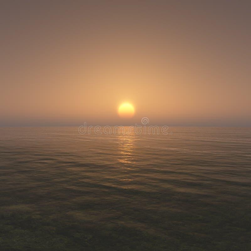 日落与干净的天空的海洋环境 库存例证