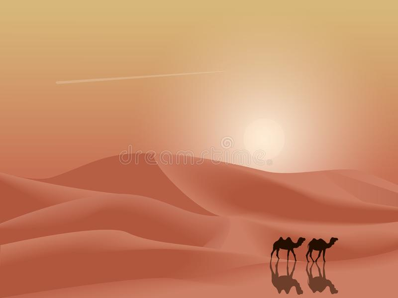 日落与骆驼的沙漠沙丘使背景环境美化 简单的平的简单派传染媒介例证 向量例证