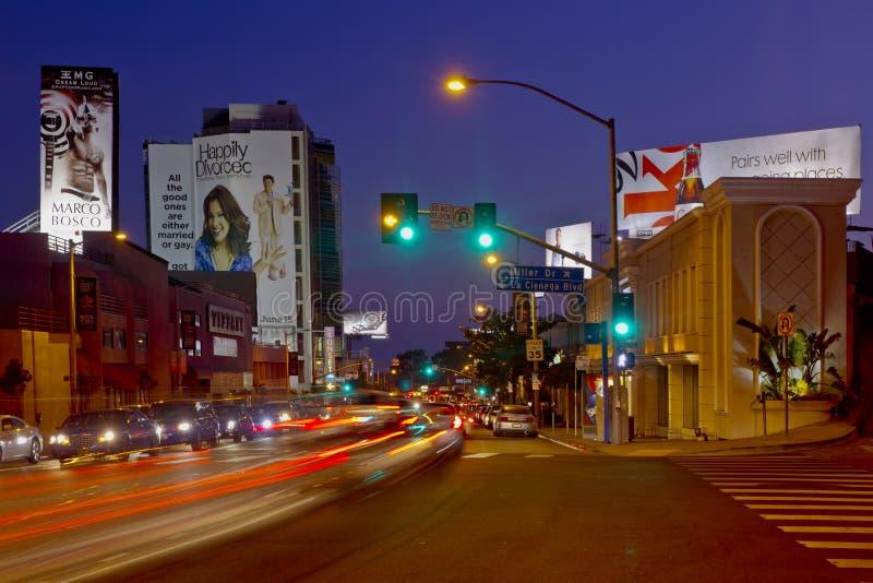 日落主街上在西方好莱坞地区 库存图片
