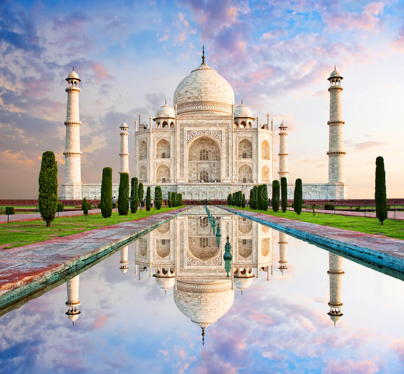 日落光的,阿格拉,印度泰姬陵 免版税图库摄影