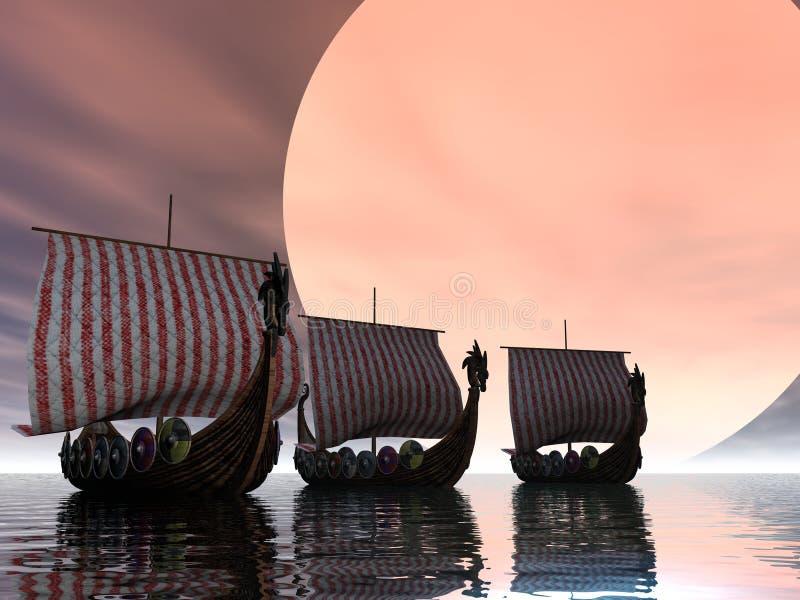 日落北欧海盗 库存例证