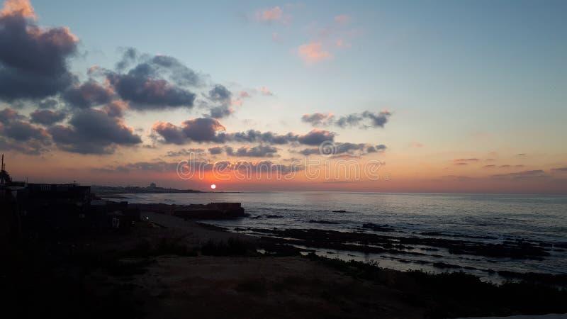 日落卡萨布兰卡海滩 图库摄影