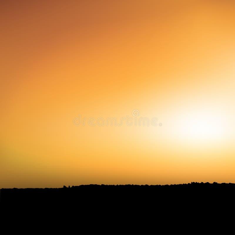 日落和大草原 皇族释放例证