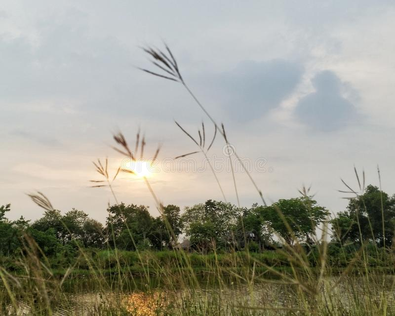 日落和天空 免版税图库摄影