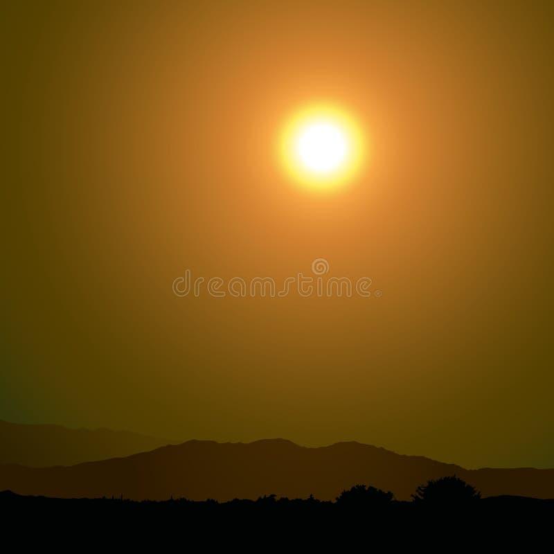日落和山 库存例证